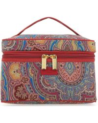 Etro Allover Floral Print Make-up Bag - Red
