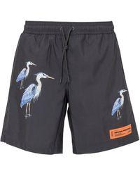 Heron Preston Heron Print Swim Shorts - Black