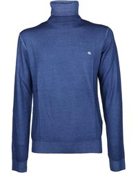 Etro Logo Embroidered Roll-neck Sweater - Blue