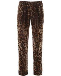 Dolce & Gabbana Leopard Pyjama Trousers - Brown