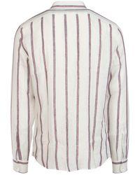 Brunello Cucinelli Striped Mandarin Collar Shirt - Multicolor