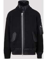 Sacai Wool Knit Blouson Jacket - Black
