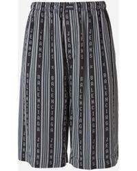 Balenciaga Logo Striped Pajama Shorts - Multicolor