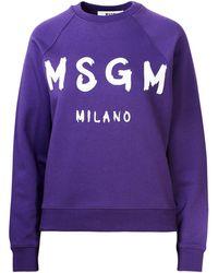MSGM Logo Printed Sweatshirt - Purple
