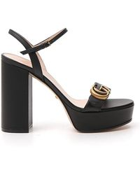 Gucci GG Marmont Leather Platform Sandals - Black