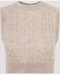 Brunello Cucinelli Cable Knit Cropped Vest - Natural