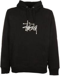 Stussy Logo Print Print Hoodie - Black