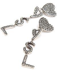 Saint Laurent Monogram Heart Crystal Earrings - Metallic