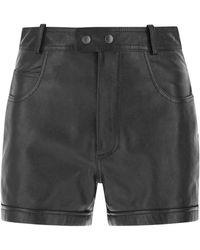 Saint Laurent High-rise Leather Shorts - Black