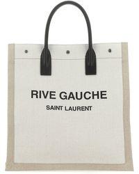 Saint Laurent Rive Gauche Tote Lino/noir - Natural