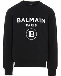 Balmain Logo Printed Sweatshirt - Black
