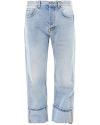 Valentino Vlogo Straight-leg Cuffed Jeans - Blue