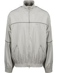 Balenciaga Contrast Piping Track Jacket - Gray