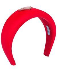 Prada Logo-embellished Silk Headband - Red