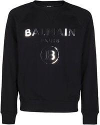 Balmain Logo Print Crewneck Sweatshirt - Black