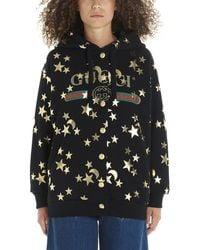 Gucci Stars And Moon Print Hoodie - Black