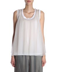 Brunello Cucinelli - Pleated Jersey Top - Lyst