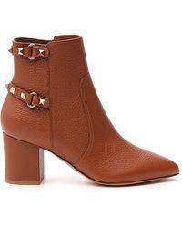 Valentino Garavani Rockstud Ankle Boots - Brown