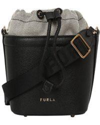 Furla Logo Drawstring Bucket Bag - Black