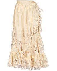 Zimmermann Brighton Scallop Wrap Skirt - Natural