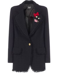 Boutique Moschino Single-breasted Tweed Blazer - Black