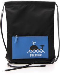 Prada Logo Drawstring Backpack - Black