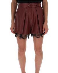 Self-Portrait Lace Trim Culotte Shorts - Red