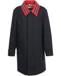Burberry Detachable Striped Collar Cotton Car Coat - Blue