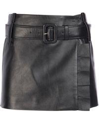 Prada Belted Ruffle Detailed Leather Mini Skirt - Black