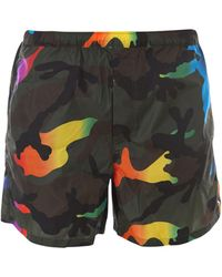 Valentino Camouflage Print Swim Trunks - Multicolor