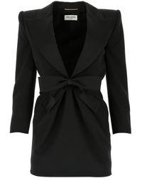 Saint Laurent Tuxedo Mini Dress - Black