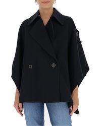See By Chloé Double Breasted Cape - Blue