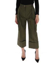 Alexander McQueen Cropped Cargo Pants - Green