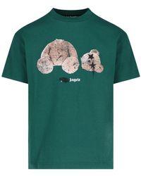 Palm Angels Bear Motif Crewneck T-shirt - Green