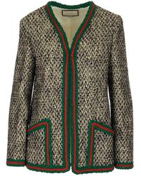 Gucci Contrast Trimmed Tweed Jacket - Multicolour