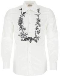 Alexander McQueen Floral Garland Embroidered Shirt - White