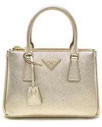 ed7ea3a75d16 Prada Galleria Double Zip Small Saffiano Leather Tote in White - Lyst