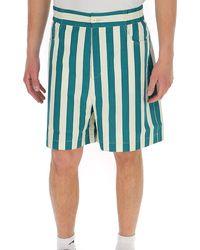Sunnei High Waist Striped Bermuda Shorts - Blue