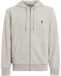 Polo Ralph Lauren Logo Embroidered Hoodie - Grey