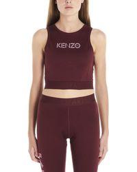 KENZO Logo Printed Cropped Tank Top - Red