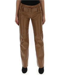 Prada Leather Flared Trousers - Brown