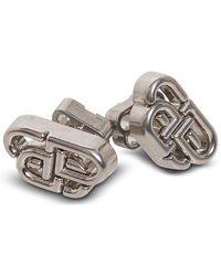 Balenciaga Logo Engraved Monogram Stud Earrings - Metallic