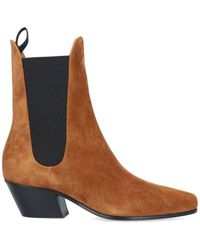 Khaite Pointed Toe Chelsea Boots - Brown