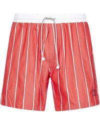 Brunello Cucinelli Striped Drawstring Swim Shorts - Red