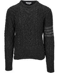 Thom Browne 4-bar Cable Knit Jumper - Grey