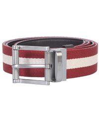 Bally Tamal Reversible Striped Belt - Red