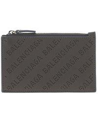 Balenciaga Allover Logo Zipped Card Holder - Gray
