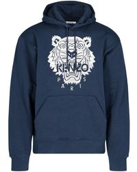 KENZO Tiger Embroidered Hoodie - Blue