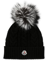 Moncler Black Wool Blend Beanie Hat Nd