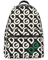 Dolce & Gabbana Logo Print Backpack - Black